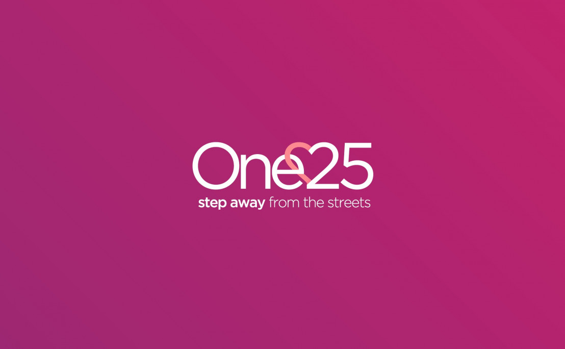 One25 logo on a pink background