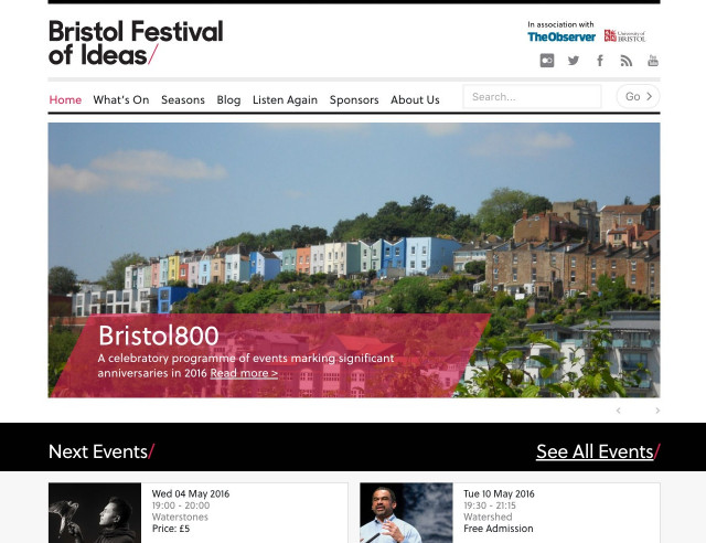 Desktop image of Bristol Festival of Ideas Wordpress project