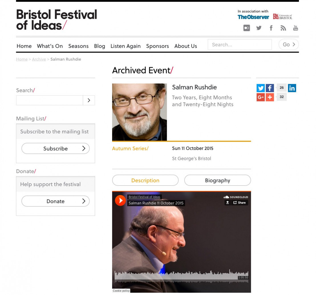 Bristol Festival of Ideas archived event