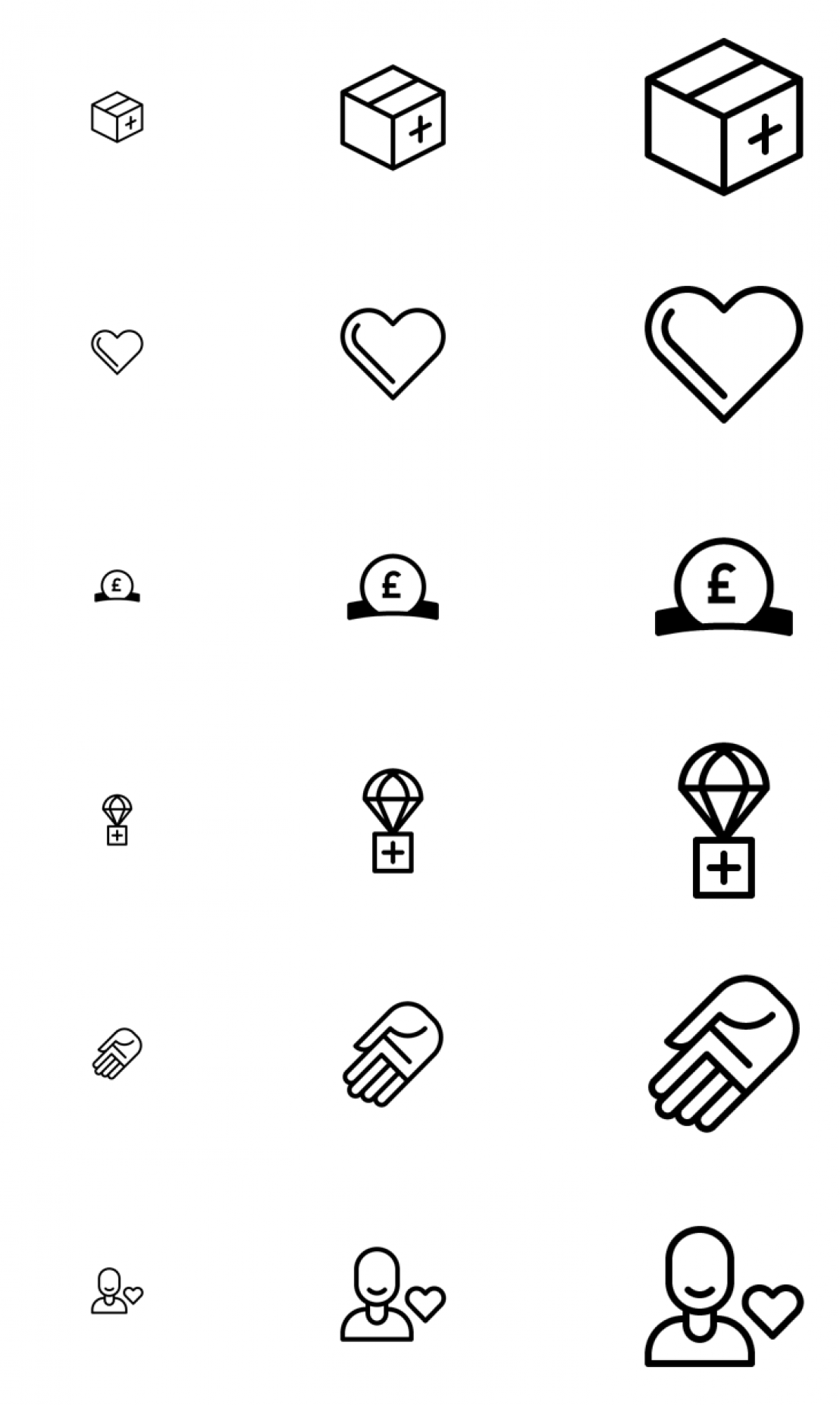 Charity icons on a white background