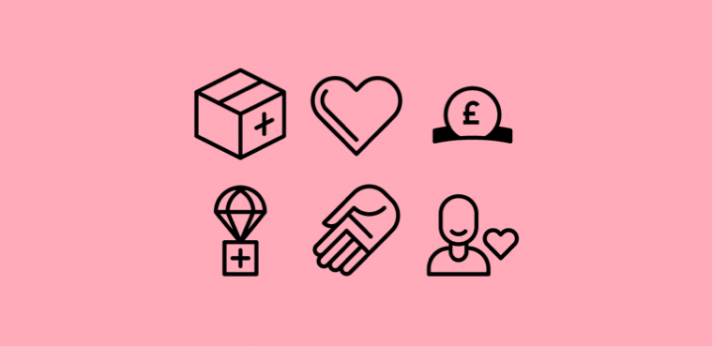 Charity icons on a pink background