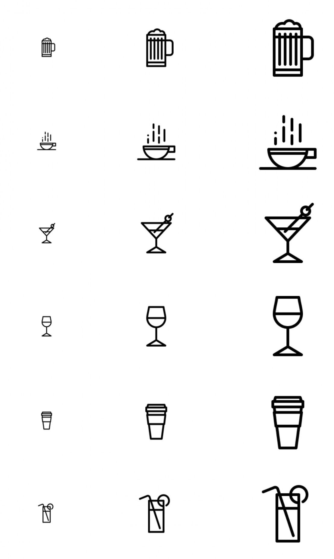 Drinks icons on a white background
