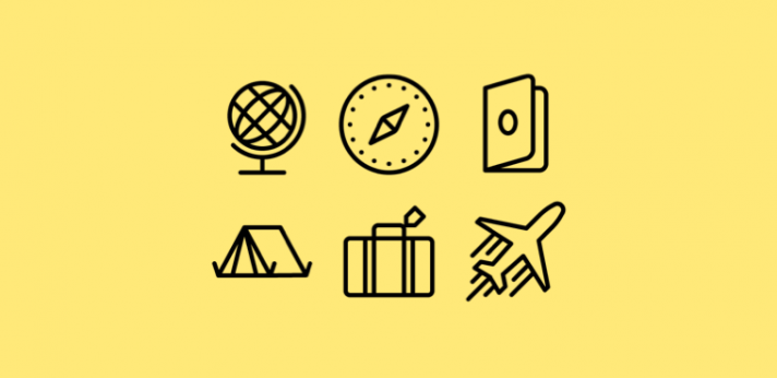 Travel icons on a yellow background