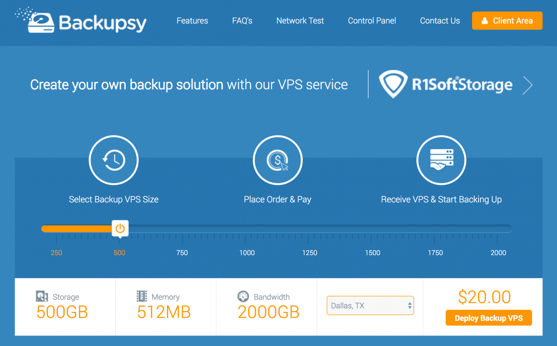 backupsy is an external VPS service