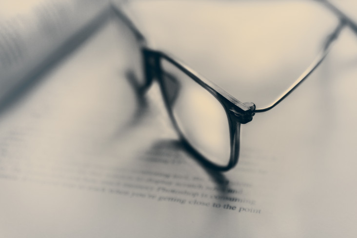 Image of glasses on a book