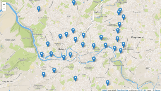 Bristol Open Data recycling banks plotted on the map