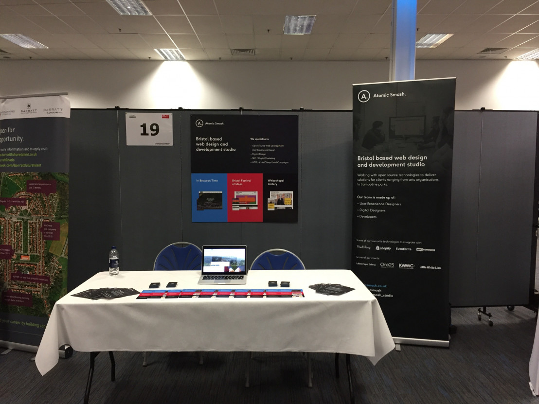 Image of atomic smash stand at meet the employers fair