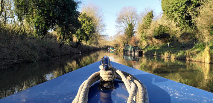 image of a view from a canal boat