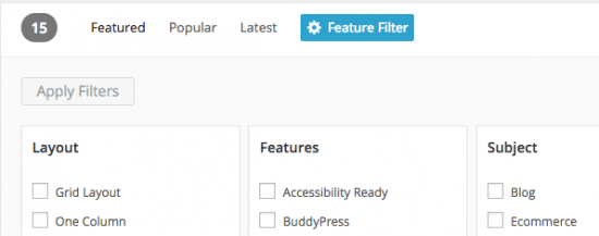 The WordPress Theme Directory filtering system