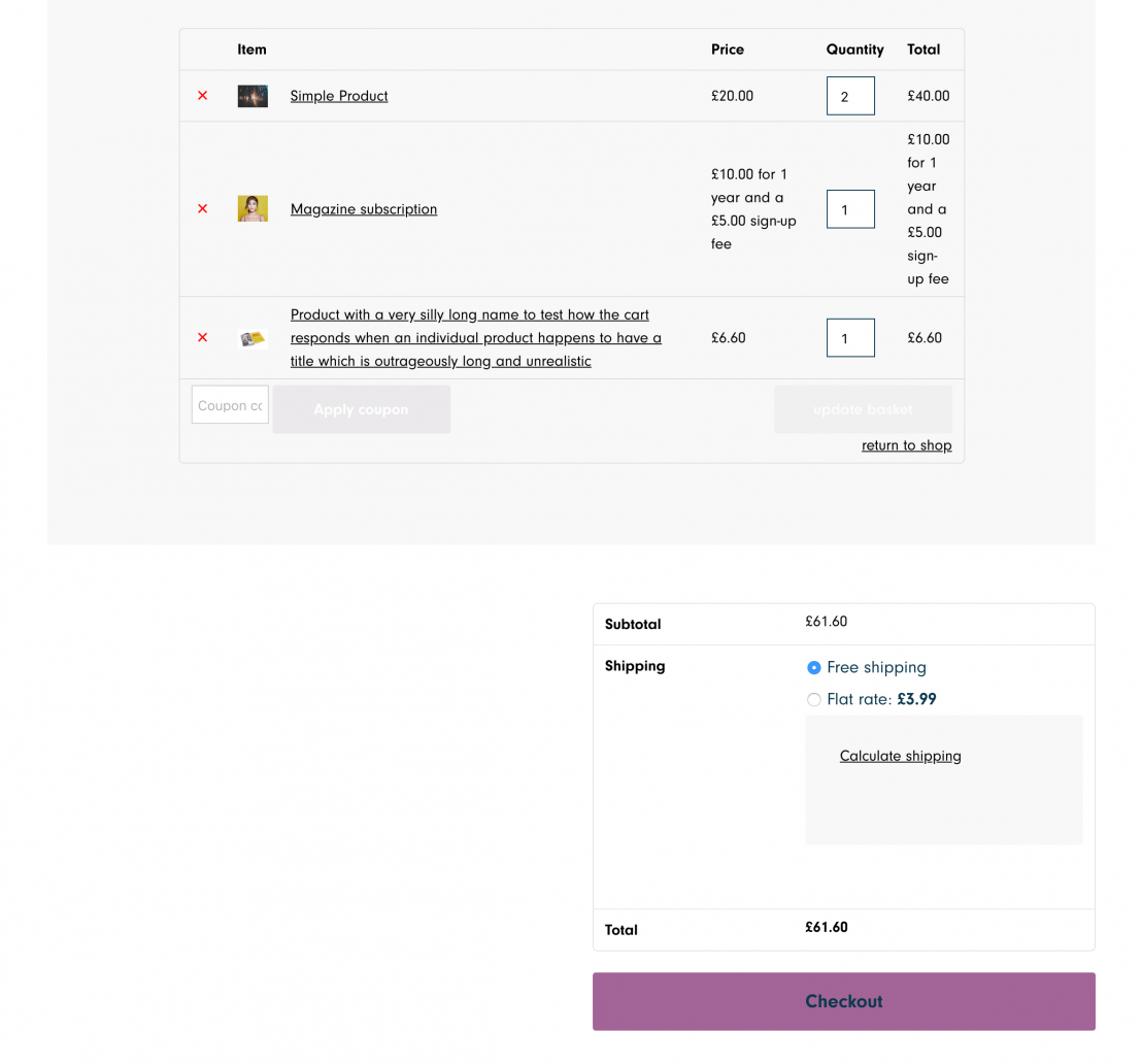 Image showing how the default WooCommerce cart appears.