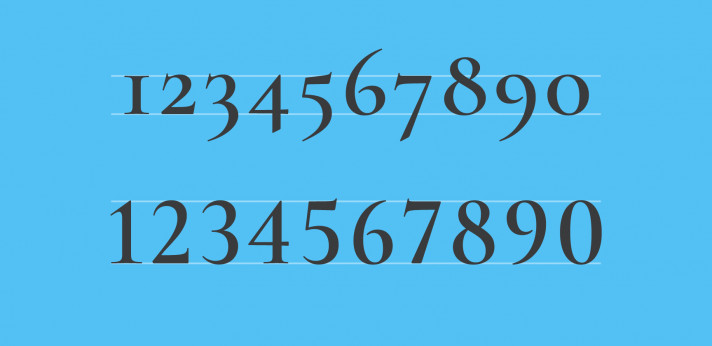 2 varieties of numerals in a single font