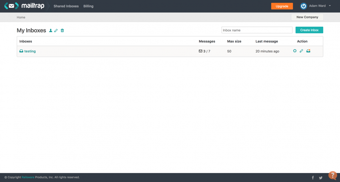 screenshot of mailtrap admin dashboard
