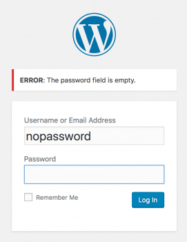 Wordpress default error field