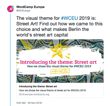 A tweet from WordCamp Europe announcing their theme
