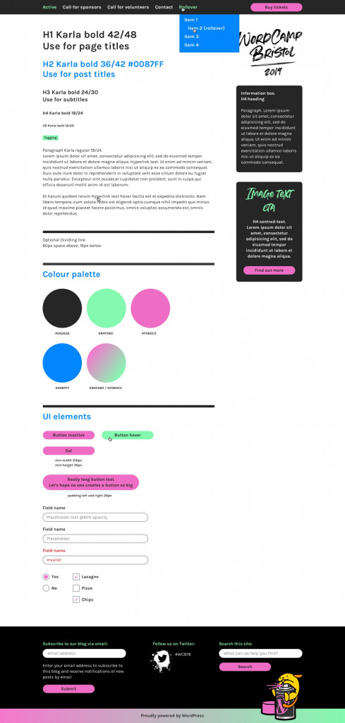 The style guide for website design